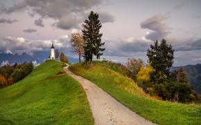 Picture road, autumn, clouds, trees, landscape, mountains, nature, hills, Church, Slovenia, Yamnik