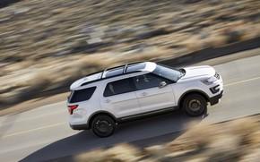 Picture white, movement, Ford, Sport, SUV, Explorer, 2017, XLT
