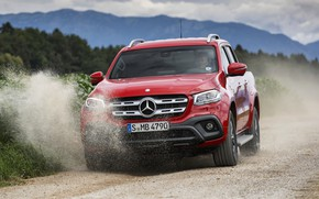 Picture red, movement, Mercedes-Benz, dust, pickup, primer, 2017, X-Class