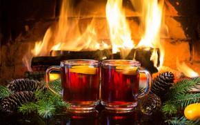 Picture branches, heat, New Year, Christmas, fireplace, bumps, cozy, горячий чай с лимоном
