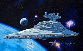 "Picture Star Destroyer, starfighter, TIE Fighter, rebel Alliance, T-65 «X-wing», type ""Imperial"