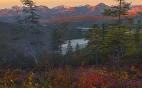 Picture autumn, trees, landscape, mountains, nature, lake, dawn, hills, vegetation, morning, forest, hills, Vladimir Ryabkov, Kolyma, …