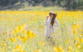 Picture field, summer, girl, flowers, nature, pose, hat, glasses