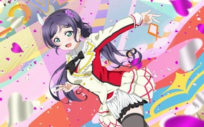 Picture background, art, girl, hearts, Love Live School Idol Project, Living love