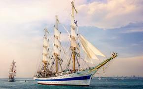 Picture sea, ship, sailboat, three-masted, Парусник МИР