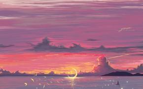 Picture sea, the sky, sunset, birds, sailboat, fantasy, Crescent