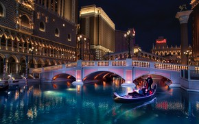 Picture water, night, bridge, the city, boat, building, home, the evening, lighting, Las Vegas, lights, USA, …