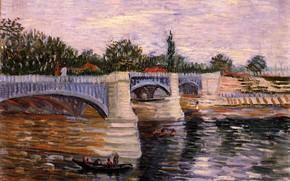 Picture bridge, people, boat, Vincent van Gogh, with the Pont de la Grande Jette, The Seine