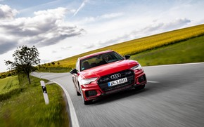 Picture road, red, movement, Audi, field, universal, 2019, A6 Avant, S6 Before