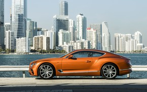 Picture coupe, Bentley, near water, 2019, Continental GT V8