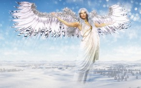 Picture winter, girl, wings, angel