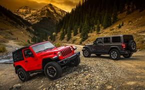 Picture mountains, red, primer, 2018, Jeep, dark gray, Wrangler Rubicon, Wrangler Sahara