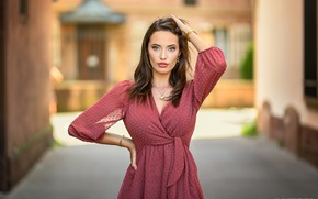 Picture look, pose, model, portrait, makeup, dress, hairstyle, brown hair, beauty, bokeh, Manon, Lods Franck
