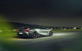 Picture lights, McLaren, supercar, rear view, Spider, Novitec, 720S, 2019