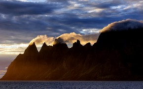 Picture sea, the sky, mountains, Norway, Senja