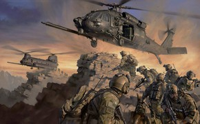 Wallpaper special forces, evacuation, helicopters, special forces, Sine Pari