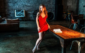 Picture look, sexy, pose, table, model, chairs, portrait, barefoot, makeup, figure, dress, hairstyle, book, brown hair, …