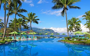 Picture mountains, palm trees, pool, Hawaii, the hotel