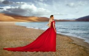 Picture the sky, girl, pose, lake, red, shore, dress, bokeh, Khismatulin Renat