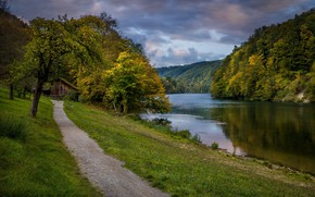 Picture landscape, nature, river, Switzerland, house, path, forest, Bank, Rhine