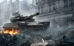 Picture The city, The game, Fire, War, Weapons, Destruction, Tank, Technique, War Thunder, T-64, Vladimir, WarThunder, …