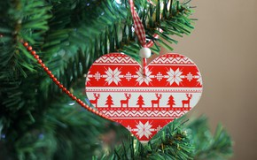 Picture winter, branches, background, holiday, red, pattern, heart, Christmas, New year, beads, deer, needles, ornament, heart, …