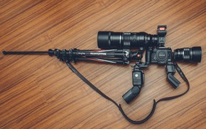 Picture weapons, camera, tripod