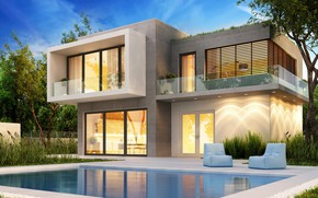 Picture design, house, lawn, Villa, pool, modern, houses, villa, luxury