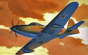 Picture art, airplane, aviation, ww2, P-63 KingCobra