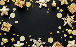 Picture decoration, New Year, Christmas, golden, christmas, merry, snowflakes, decoration, frame