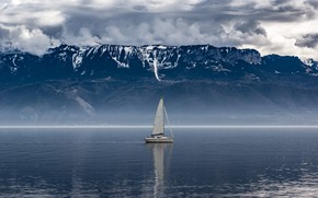Picture sky, sea, ocean, water, clouds, snow, boat, foggy, mist, montain, sail boat, little ship
