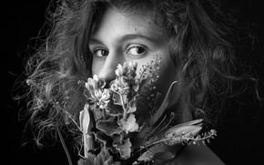 Picture girl, flowers, portrait, Michael Shestakov, monochrom, magic black and white photo of