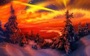 Picture winter, nature, art, Orange, fragment, Nina Vels