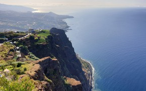 Picture landscape, mountains, nature, the ocean, shore, island, ocean, landscape, nature, mountains, Madeira Island, Кабо-Жирау, Cabo …