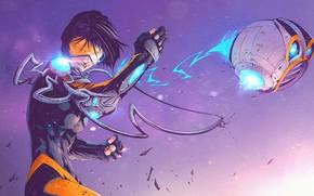 Picture Blizzard, Art, Game, Overwatch, Tracer, Lena Oxton, Tracer, Tonton Revolver, Lena Oxton, by Tonton Revolver, …