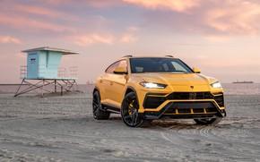 Picture beach, sunset, the evening, Lamborghini, Vorsteiner, crossover, Urus, 2019