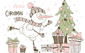 Picture winter, tree, Christmas, snowman, christmas, postcard, snowman