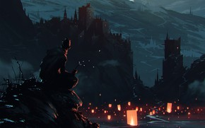 Picture Mountains, Night, Rocks, People, Monster, Castle, View, Fantasy, Landscape, Art, Fiction, Lanterns, Omar Bronze, by …
