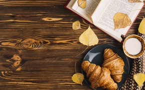 Wallpaper autumn, leaves, colorful, Cup, book, wood, background, autumn, leaves, cup, book, growing, croissant, milk