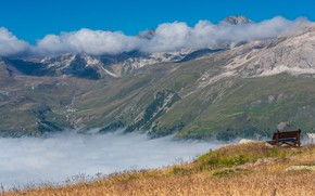 Picture grass, clouds, mountains, bench, fog, blue, rocks, the slopes, view, height, beauty, shop, haze, relief, …