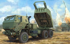 Picture USA, High Mobility Artillery Rocket System, on a wheeled chassis, HIMARS, Rocket artillery, American jet …