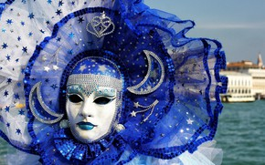 Picture stars, a month, mask, carnival, carnival mask