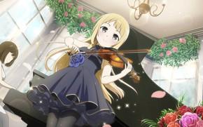 Picture music, violin, roses, girl, Yuu want yuu felt the yuu sure de Arun