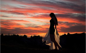 Picture the sky, girl, sunset, pose, Andrew Stankūnas