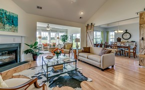 Picture interior, fireplace, living room, dining room, Glenmoor