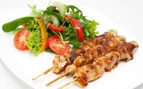 Picture sauce, ketchup, kebab, skewers, chicken kebab