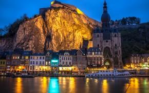 Picture night, the city, rock, river, building, home, lighting, Church, Belgium, Maas, Dinan