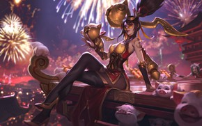 Picture look, girl, pigs, League Of Legends