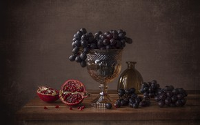Picture glass, the dark background, table, grapes, fruit, still life, items, garnet, composition, vase, pomegranate grains