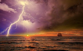 Picture the storm, the ocean, sailboat